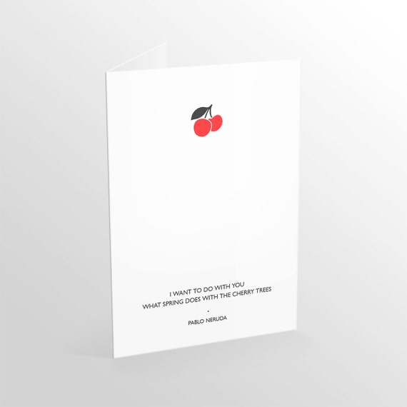 Love Cherry Quote Greeting Card 6x4 Size