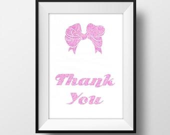 Thank You Bow Print Art 6X4