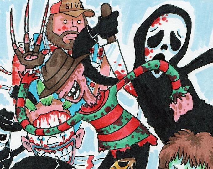 The Slasher Mash - Horror Illustration - Print
