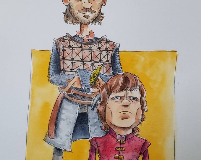 Tyrion and Bronn - Ink and Watercolor - Game of Thrones