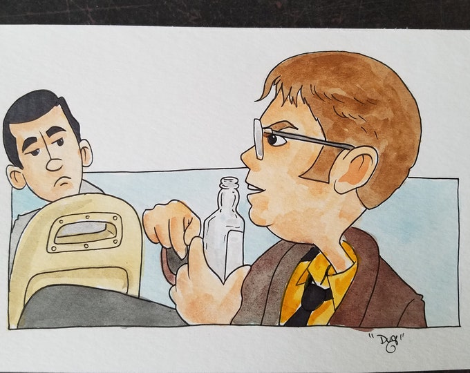 I don't work in this van - ink and watercolor - the Office
