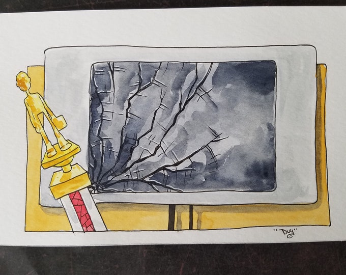 Zero dollars a year salary - ink and watercolor - the Office