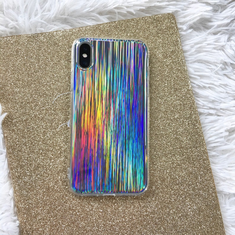hot sale online 5dc8e 252f3 Laser Beam Holographic iPhone Case, Hologram Case, Reflective Case, Shiny  Case, iPhone 8, iphone X case