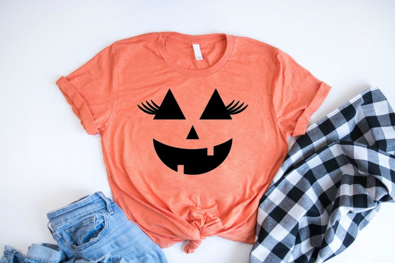 4f5af81b Pumpkin Face With Lashes Cute Halloween Shirt For Women | Etsy