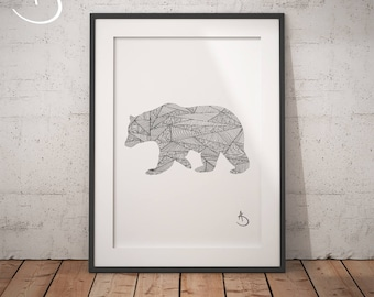 Bear Drawing Print Wall Decor Printable Poster Digital File Instant Download Black And White