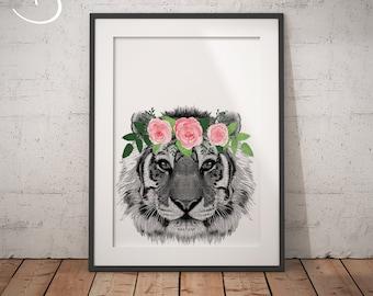 LLAMA FLOWER CROWN Llama Print Printable Art Animals floral