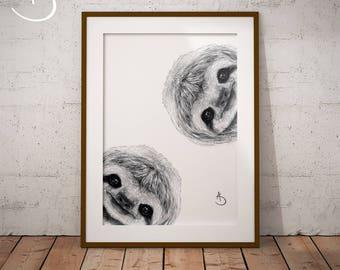 CUTE CURIOUS SLOTH Drawing download, Sloth Wall decor, Curious Sloth Print, Printable Sloth Poster, Sloth Decor, Curious Animals, Sloth Art