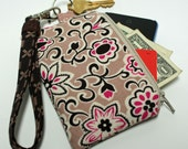 Zippered Bag with Wristlet for Cell Phone and Small Items, purse, key fob, cell pouch, iPhone bag, gifts under 20, handmade, brown, pink