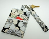 Modern Fabric Pouch for Smart Phone, Cell Pouch, Zipper Bag, in Flower Design in Gray, Black, White with Pocket, Button Closure, Wristlet