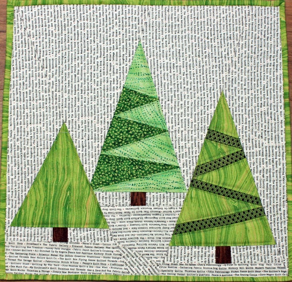 Modern Tree Quilted Wall Hanging Art Quilt Paper Pieced Pine Trees On White Background With Quilt Shop Names 16 X 16 Inches Wall Art