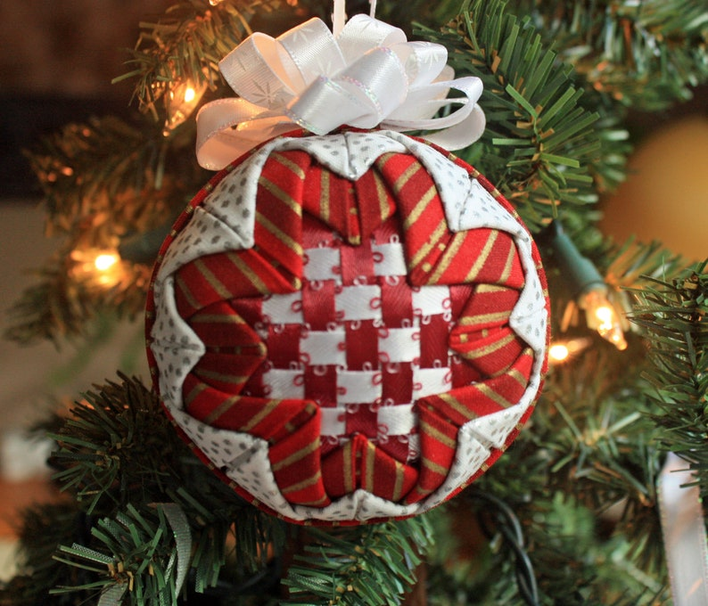 Quilted Christmas Ornament With Red And White Ribbon Woven Center Folded Fabric Handmade Holiday Ornament Includes Gift Box And Tag