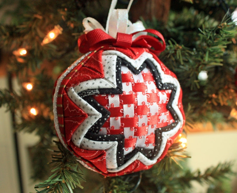 Quilted Christmas Ornament With Red And White Ribbon Woven Center Folded Fabric Includes Gift Box And Tag Handmade Holiday Ornament