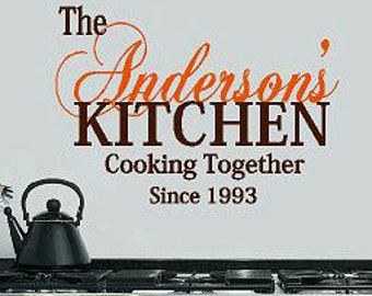 Personalized Kitchen Cooking Together Vinyl Lettering Words Etsy