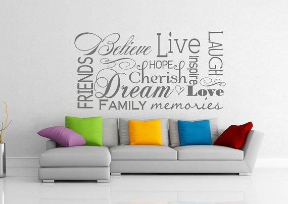 Believe Live Laugh Love Friends Collage Wall Decal Vinyl Door Etsy