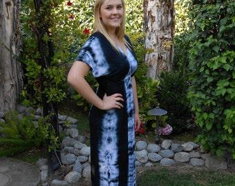 Maxi Dress, Tie Dye Maxi, Kimono Style Dress, Tie Dye Dress, Dresses, Maxi, Black/White S M L XL