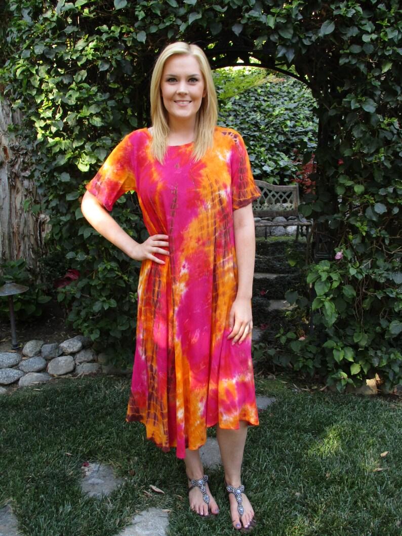 Cotton Hippie Dress, Tie Dye Dress, Summer Dress, Dresses, Cotton Gauze, Boho Cotton, Fuchsia, Orange, Brown ML XL2X Short Sleeve