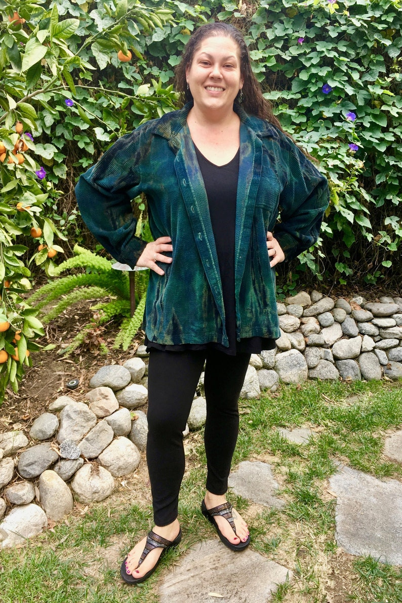 Pure Intent one of a kind Corduroy Tie Dye in Teals Greens Corduroy Cotton Zip Up Shirt Plus Size LL BEAN Wide Wale Cotton Jacket