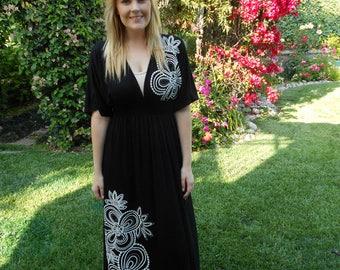 Black Maxi Dress SALE, Maxi Dress, Maxi, Long Dress, Kimono Maxi, Summer Maxi Dress, Black with White, S M L