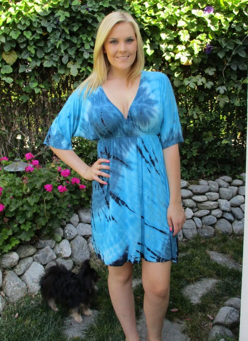 Plus Size Dresses, Tie Dye Dress, Dress, Plus Sizes, Tie Dye, Kimono Dress,  Blue Teal/Turquoise, XL