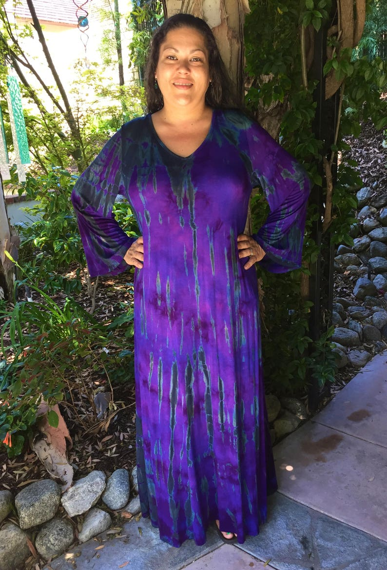 Plus Size Maxi, Maxi dress, Tie Dye Maxi, Bell Sleeve Maxi, Plus Size  Hippie Dress, Boho Maxi, Purples & Black, XL 2X 3X