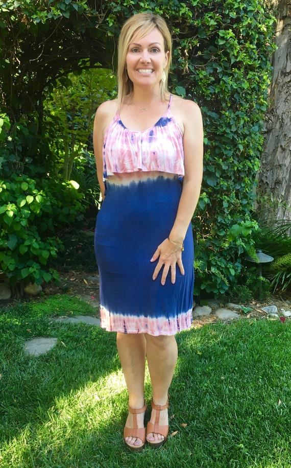 f9b243871f6 Strapless Summer Dress Tie Dye Dress Tank Dress Tie Dye