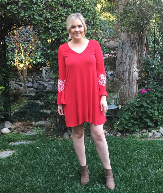 Plus size Dress, Hippie Dress, Plus Size Clothing, Ethnic Clothing, Red  Tunic Dress, Bell sleeve Dress, Red and White, S M L XL 2X 3X