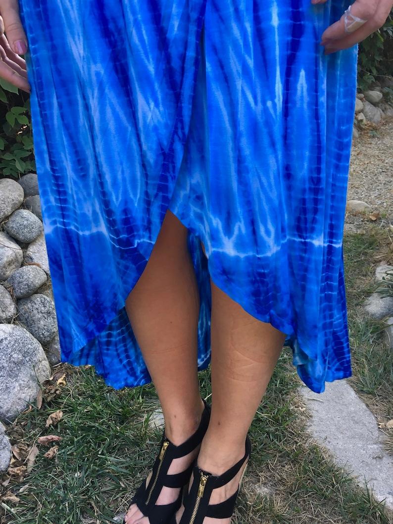 Dresses Tie Dye Cover Up Summer Tank Dress Hi Low Dress Hi Low Tank Dress Royal Blue white XS S M L Tie Dye Tank Dress Elastic Waist