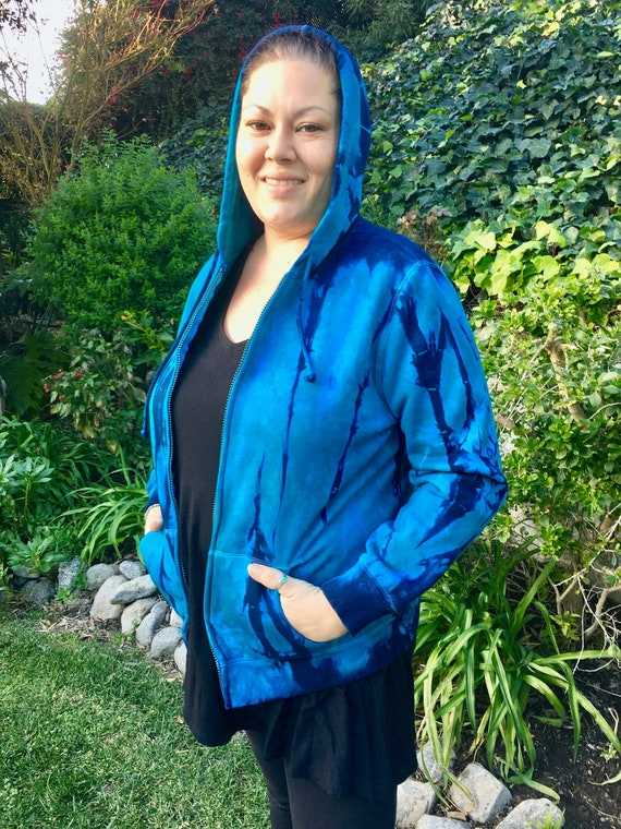 Navy and Turquoise Spiral Zip-up Hoodie