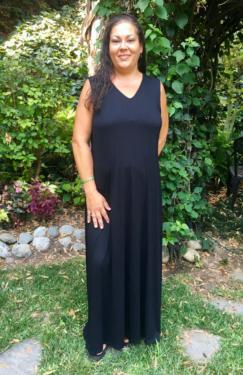 Plus Size Maxi, Maxi Tank dress, Black Maxi Dress, Plus Size Hippie Dress,  Boho Summer Maxi, Plus Size Maxi, Black Dress, XL 2X 3X, V Neck