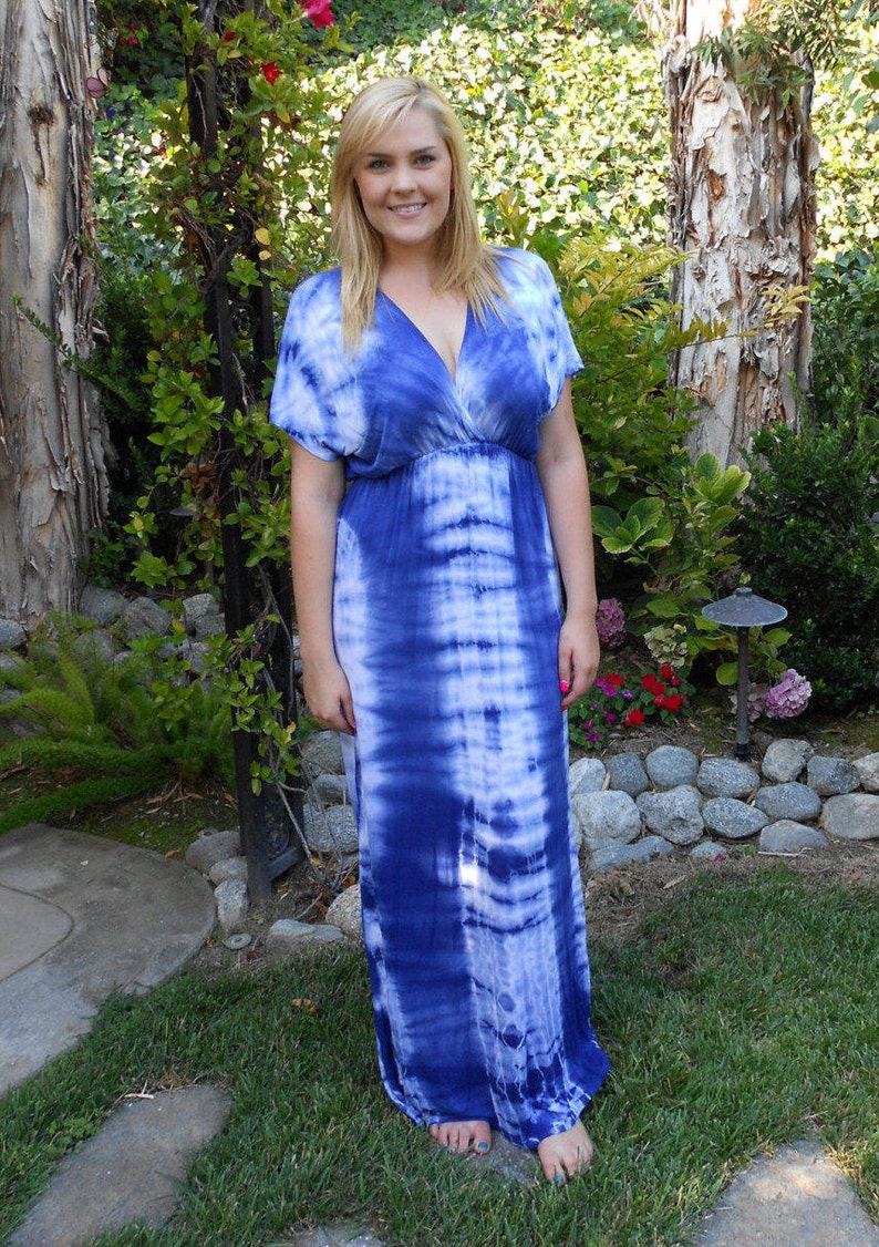 Plus Size Maxi, Plus size Maxi dress, Tie Dye Maxi, Plus Size Maxi, Summer  Maxi, Long Dress, Tie Dye, royal blue/white 2X