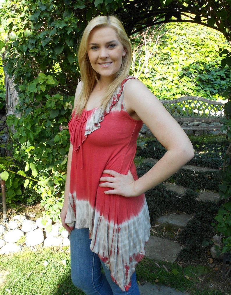 XS S M L Tie Dye Top Womens Clothing Coral with Beige /& White Clearance Ruffle Top Tank top Sale Tanks Womens top Lace Top
