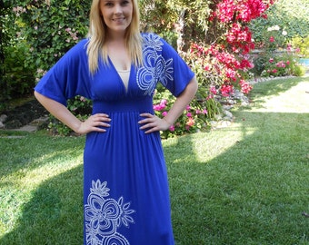 Maxi Dress SALE, Maxis,  Long Dresses, Kimono Style Maxi, Long Dress, Womens Maxi, Dresses,  Boho Maxi, Royal Blue White S, M