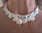 Seashell Necklace, Shell Necklace, Opal Necklace, Peruvian Opal Necklace, Green Opal Necklace, Shell Choker, Seashell Choker