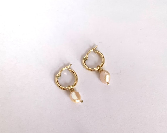 Gold hoops with pearl
