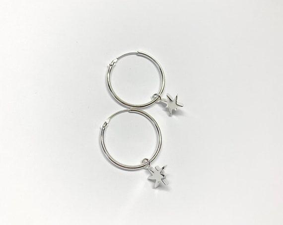 STAR silver hoops