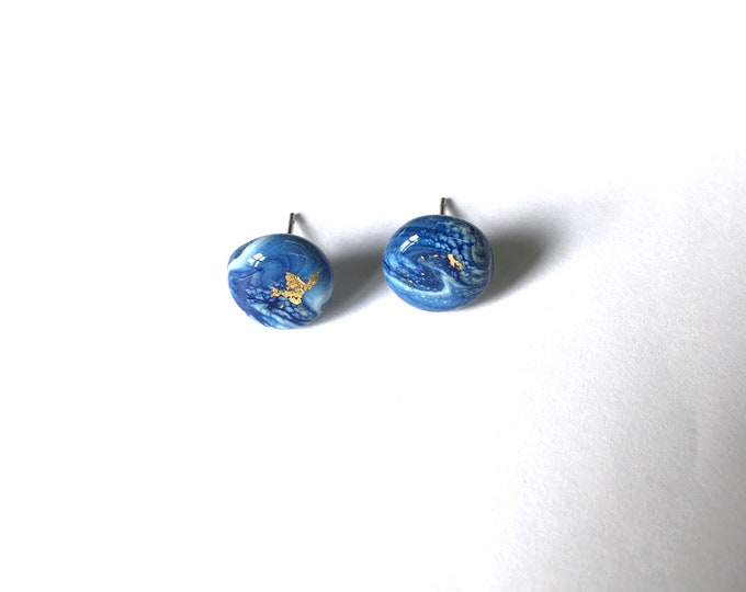 Sea Blue and gold Lampwork Glass studs