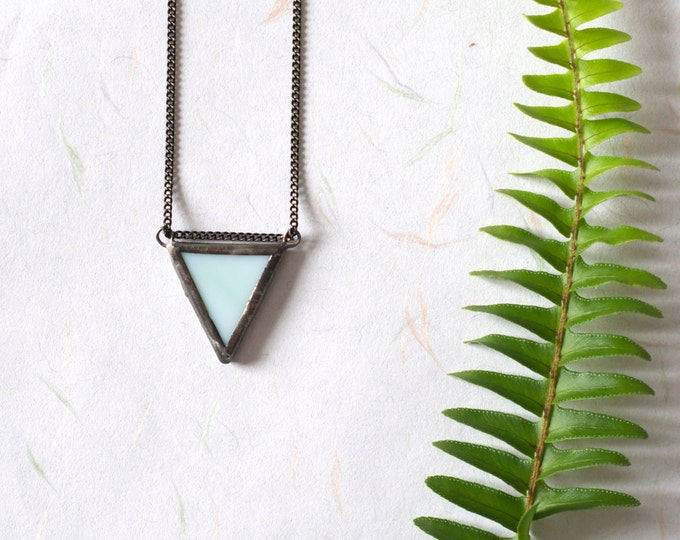 Little mint triangle stained glass pendant