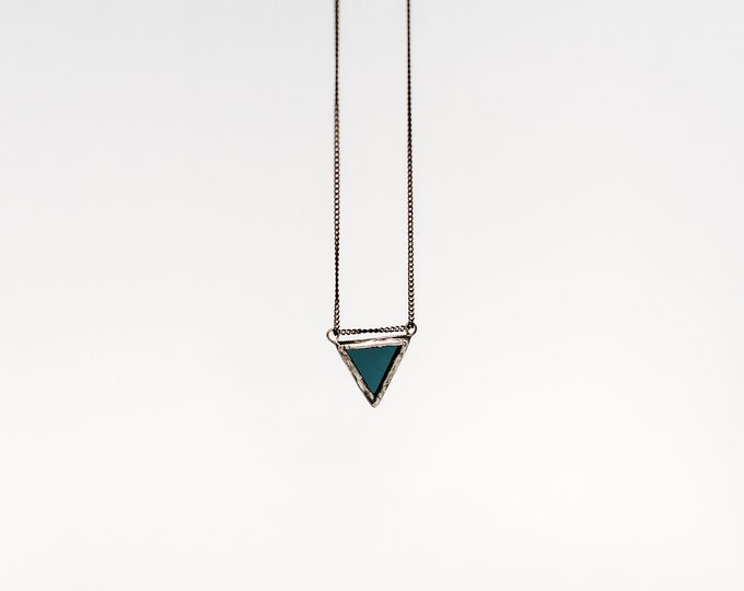 Navy triangle pendant