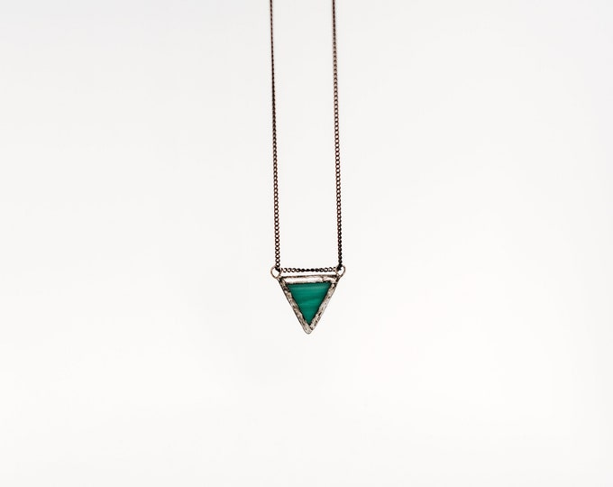 Teal triangle pendant