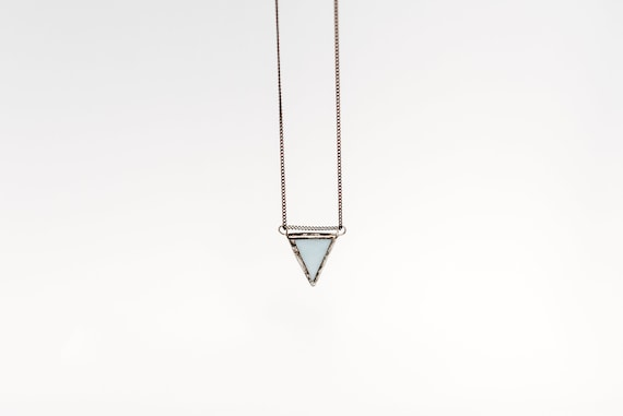 Soft blue triangle pendant