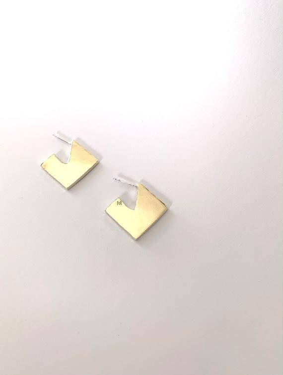GEOMETRICAL brass earrings