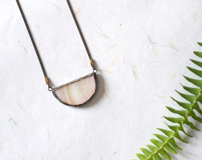 Peach half moon stained glass pendant