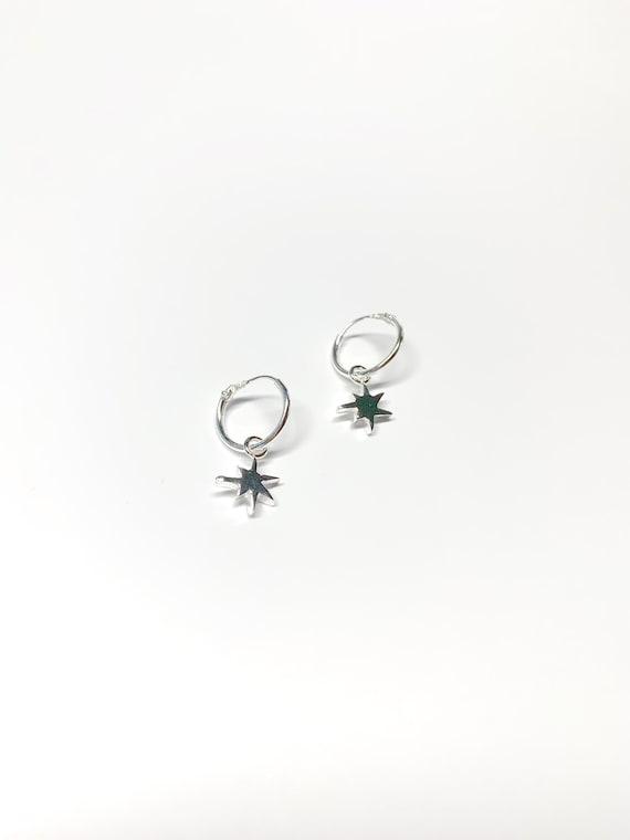Mini STAR silver hoops