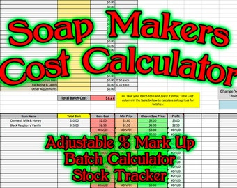 Soap Makers Cost Spreadsheet MS Excel Soaping Calculator Costing Batch Making Pricing Sheet Running Software Page Handmade Bar Loaf Business