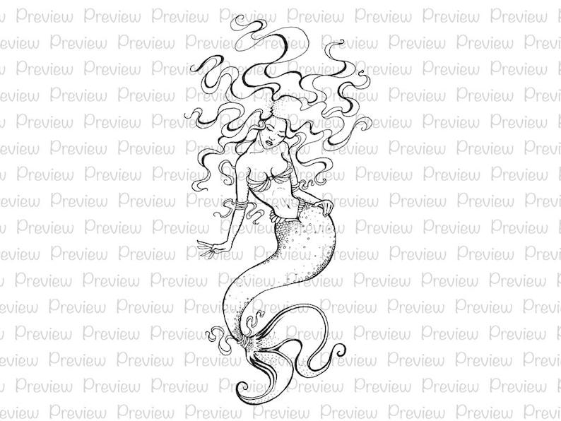 Mermaid Digital Stamp Princess Printable Digi Card Coloring Page Book Fantasy Lineart Craft Paper Scrapbook Clipart Instant Download