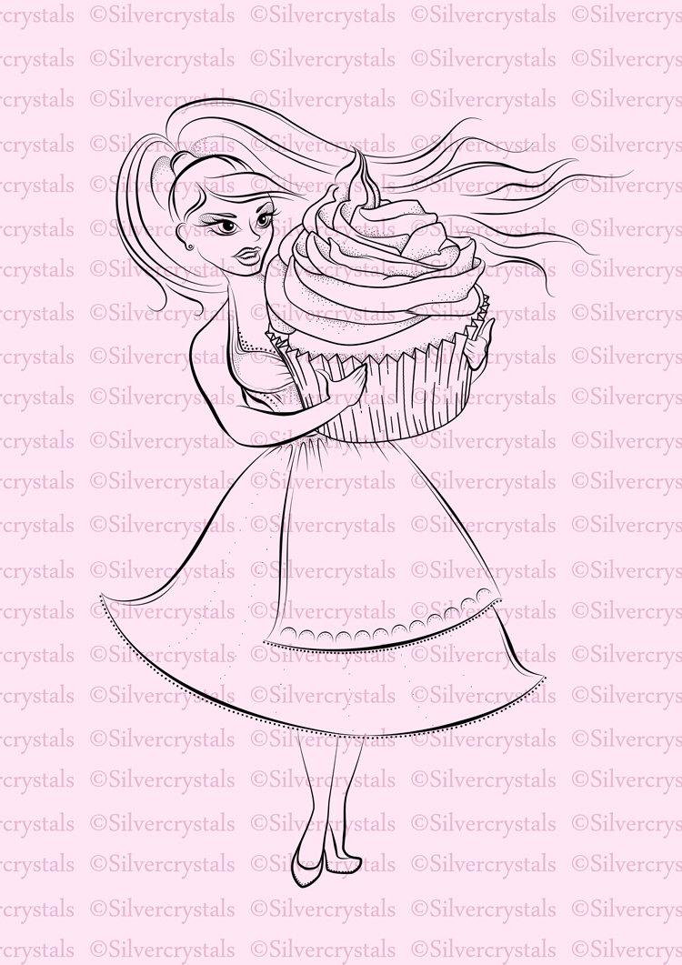 Digital Stamp Cupcake Girl Baking Baker Cake Digi Lineart   Etsy