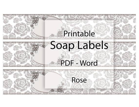 photograph regarding Printable Soap Labels named Cleaning soap Labels Printable Rose Editable Label Blank Band Grayscale Classic Floral Design Structure Do-it-yourself Cleaning soap Candle Container Beauty