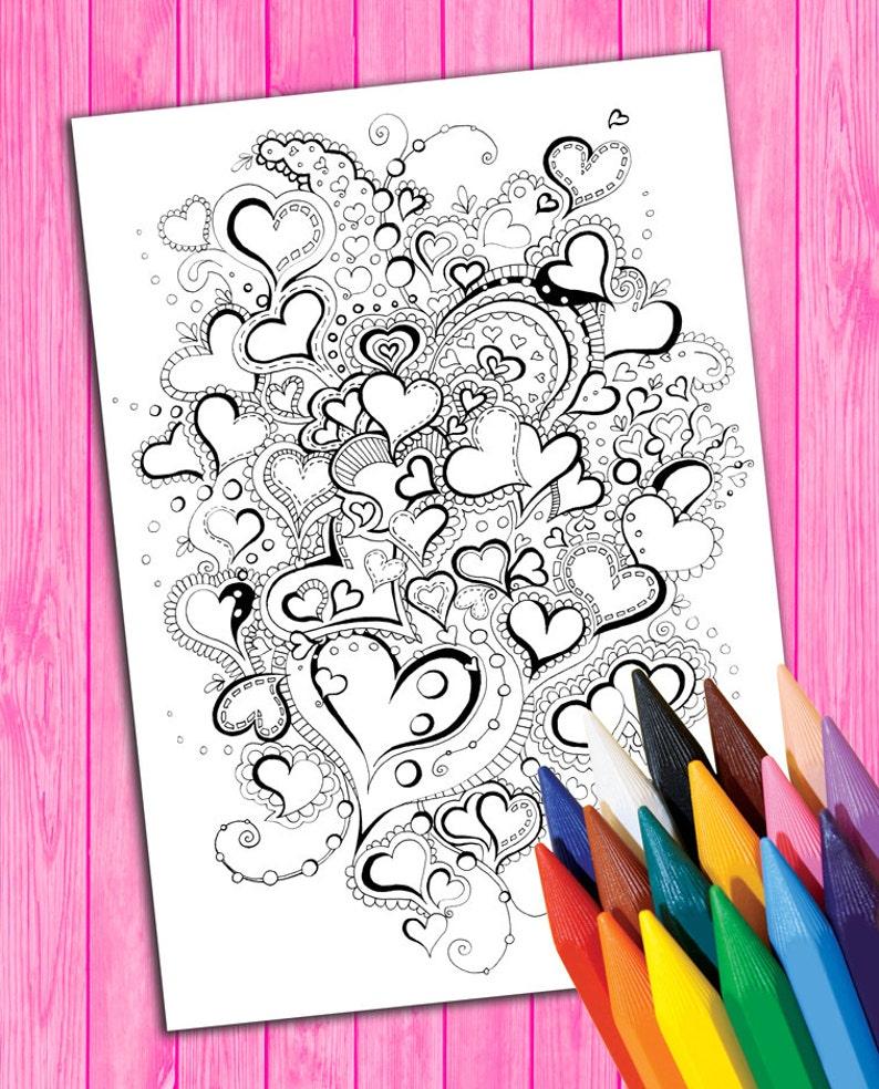 Adultos Para Colorear Página Corazón Mandala Libro Descarga Etsy
