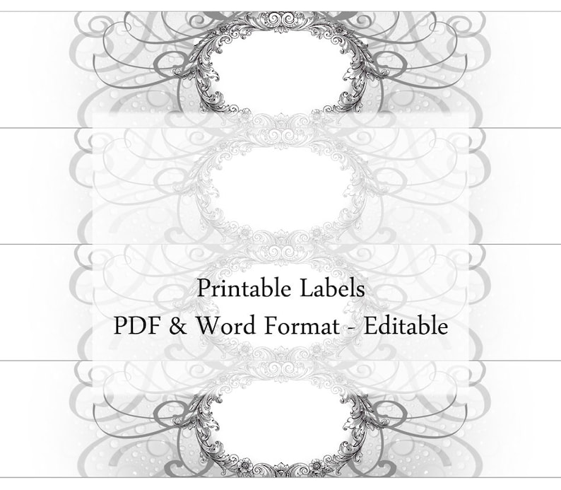 graphic regarding Printable Soap Labels called Cleaning soap Labels Editable Printable Customized Label Cigar Band Grayscale Floral Natural Common Design and style Homemade Cleaning soap Jar Pantry Container Beauty