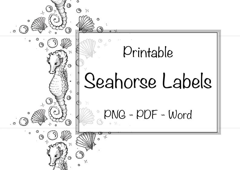 graphic about Printable Soap Labels called Seahorse Labels Editable Printable Cleaning soap Label Really Sea Ocean S Bubbles Tailor made Band Selfmade Hand Drawn Cleaning soap Candle Container Beauty